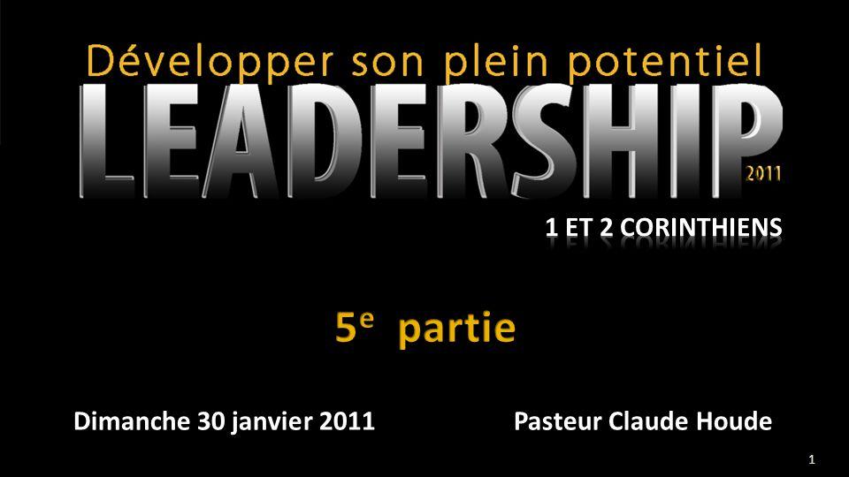 Dimanche 30 janvier 2011 Pasteur Claude Houde