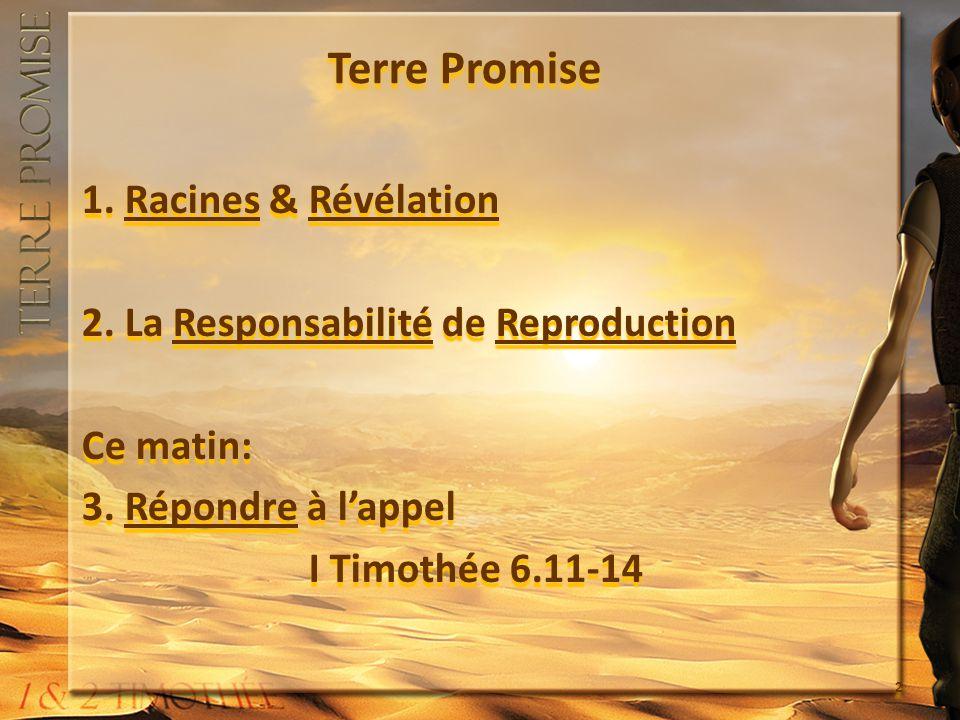 Terre Promise 1. Racines & Révélation 2. La Responsabilité de Reproduction Ce matin: 3.