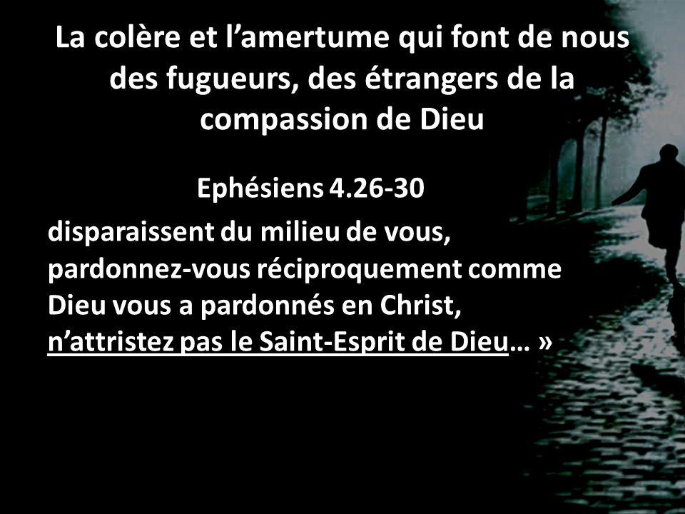 La colère et l'amertume qui font de nous des fugueurs, des étrangers de la compassion de Dieu