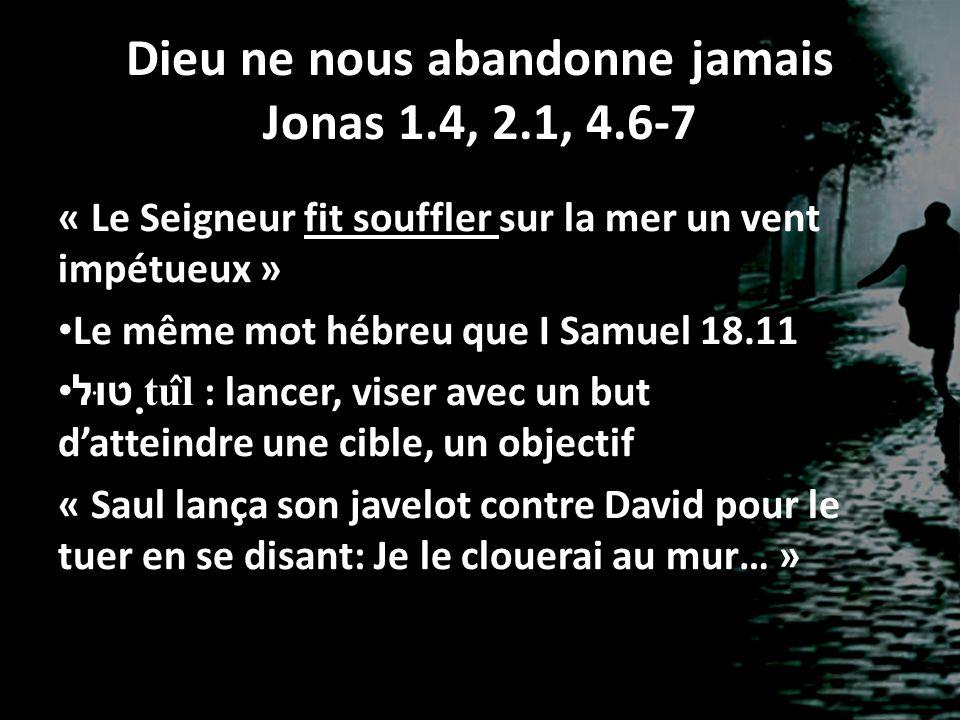 Dieu ne nous abandonne jamais Jonas 1.4, 2.1, 4.6-7