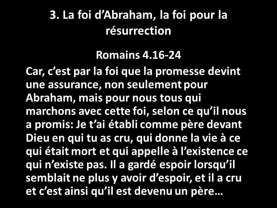 3. La foi d'Abraham, la foi pour la résurrection