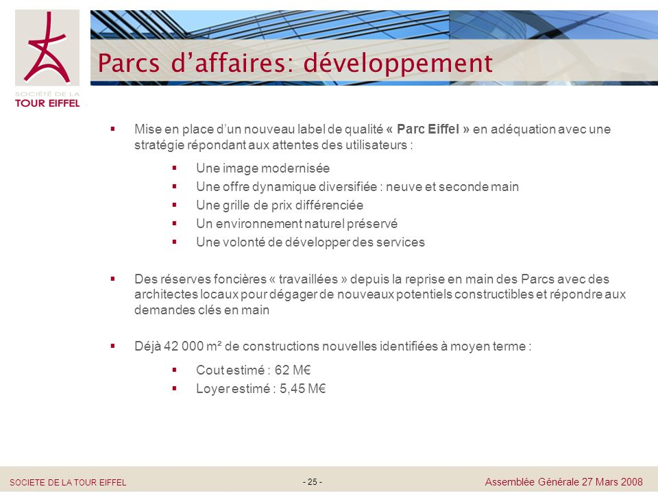 Parcs d'affaires: développement