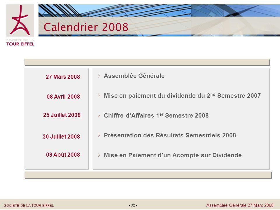 Calendrier 2008 Assemblée Générale