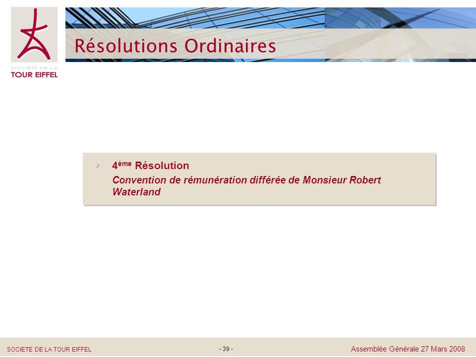 Résolutions Ordinaires