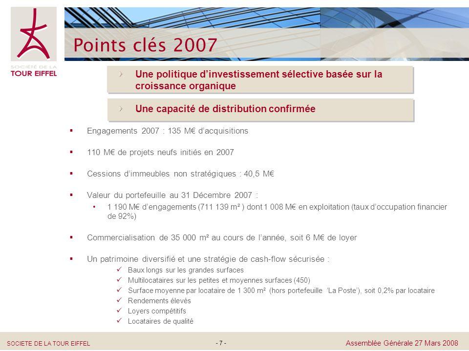 Points clés 2007 Une politique d'investissement sélective basée sur la croissance organique. Une capacité de distribution confirmée.