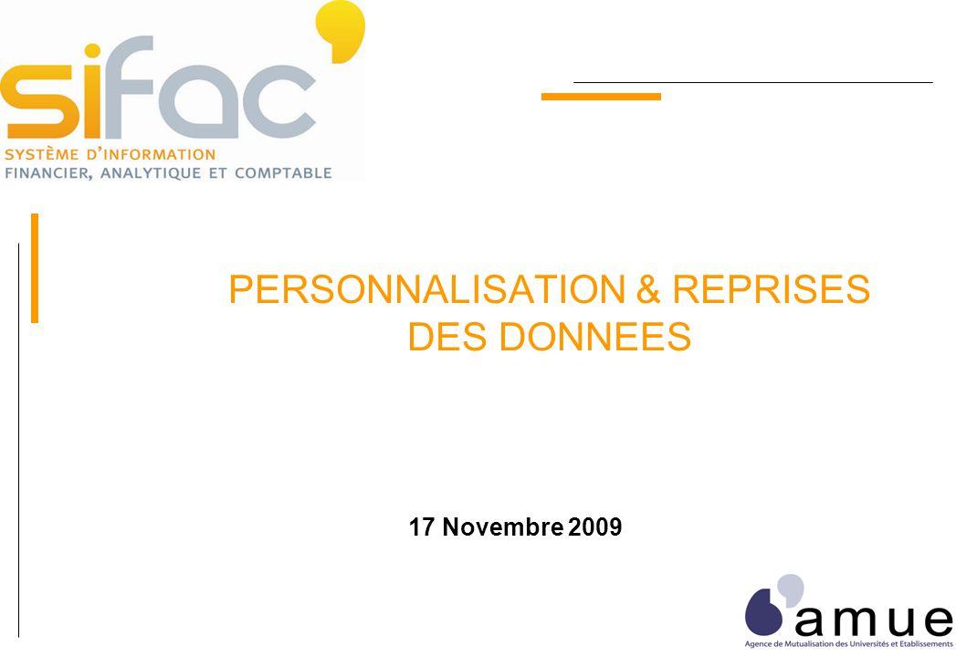 PERSONNALISATION & REPRISES DES DONNEES