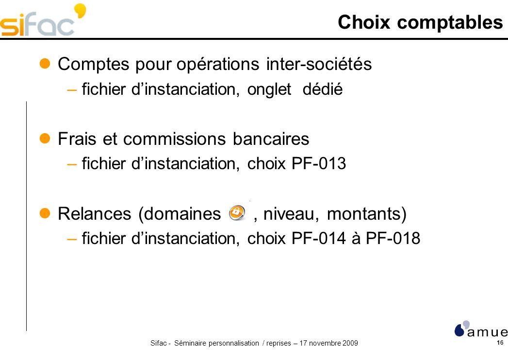 Choix comptables Comptes pour opérations inter-sociétés