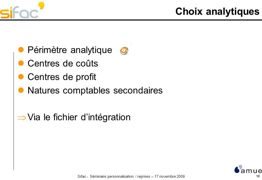 Choix analytiques Périmètre analytique Centres de coûts