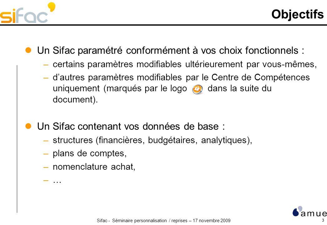 Objectifs Un Sifac paramétré conformément à vos choix fonctionnels :