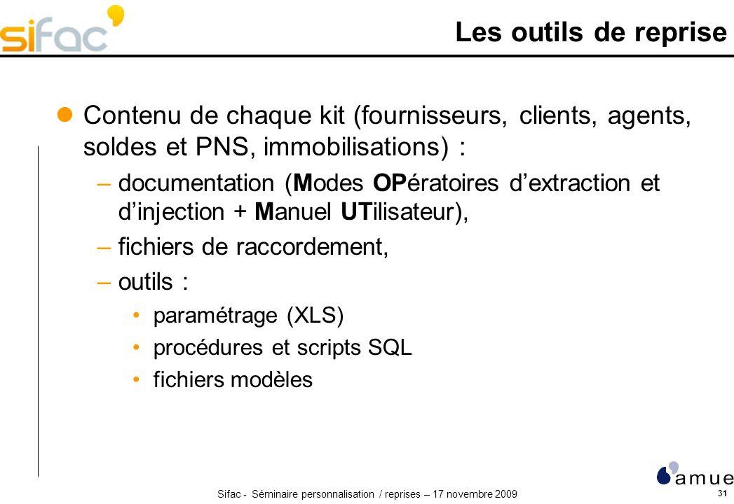 Les outils de reprise Contenu de chaque kit (fournisseurs, clients, agents, soldes et PNS, immobilisations) :