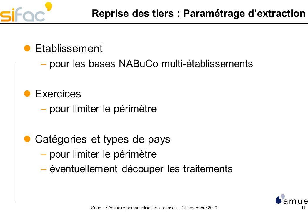 Reprise des tiers : Paramétrage d'extraction