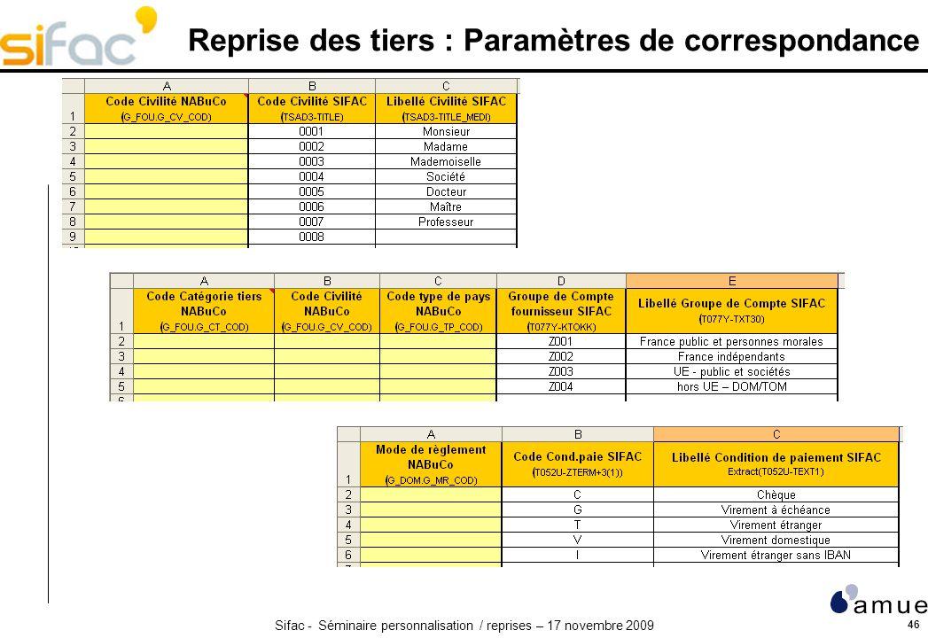 Reprise des tiers : Paramètres de correspondance