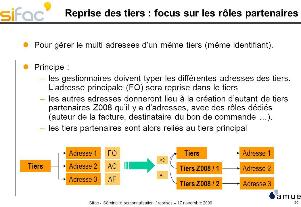 Reprise des tiers : focus sur les rôles partenaires