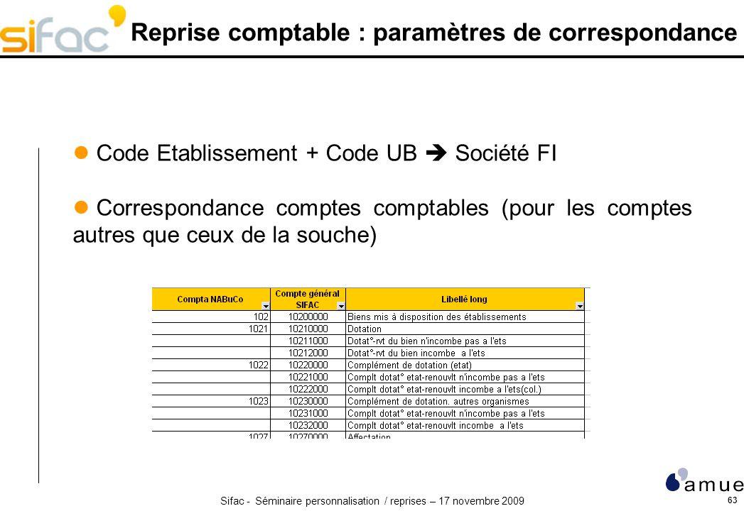 Reprise comptable : paramètres de correspondance