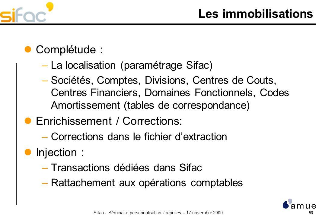 Les immobilisations Complétude : Enrichissement / Corrections: