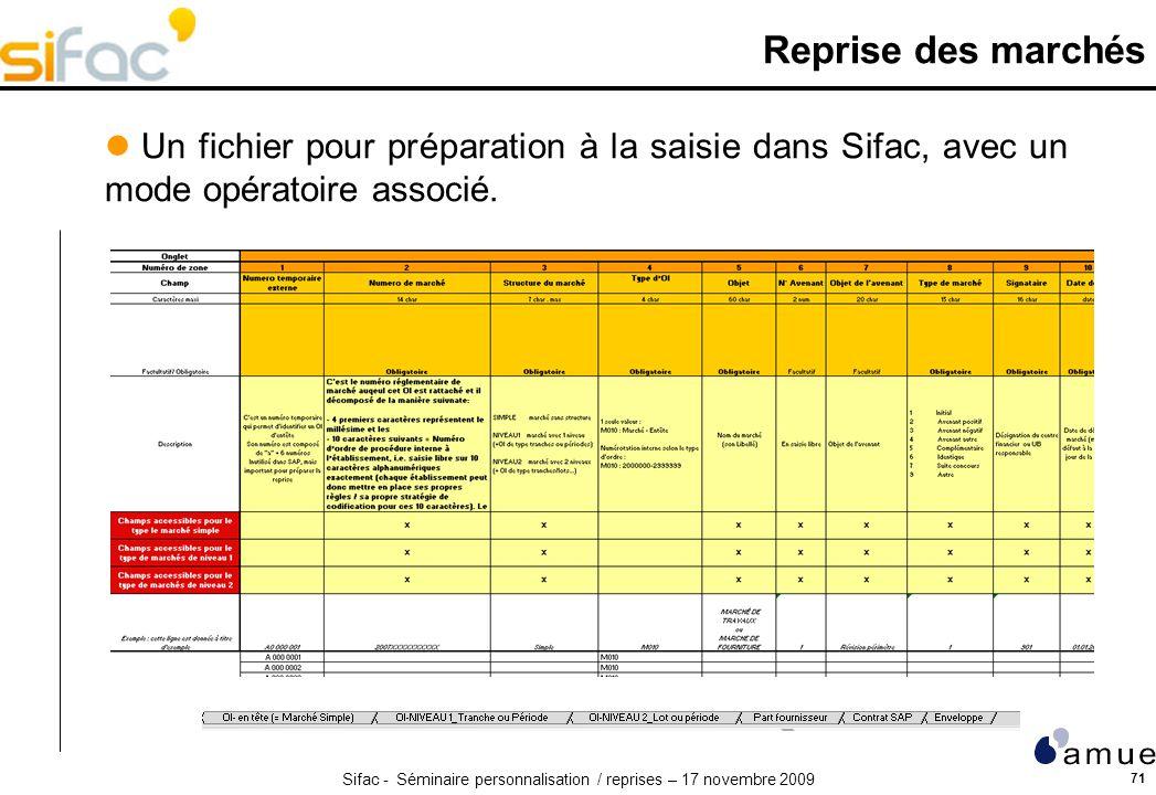 Reprise des marchés Un fichier pour préparation à la saisie dans Sifac, avec un mode opératoire associé.