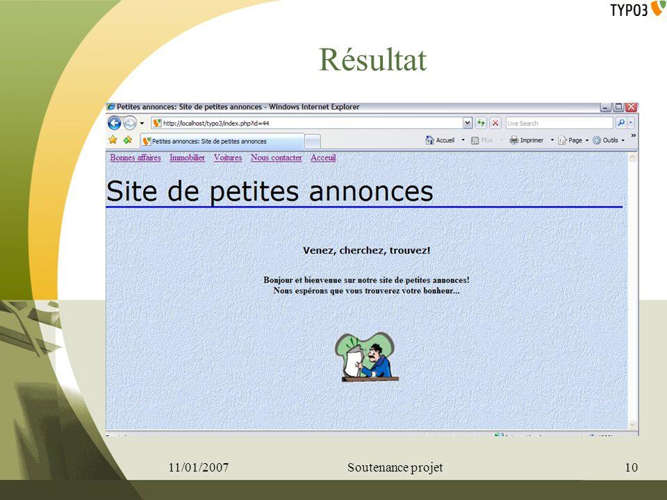 Résultat 11/01/2007 Soutenance projet 10