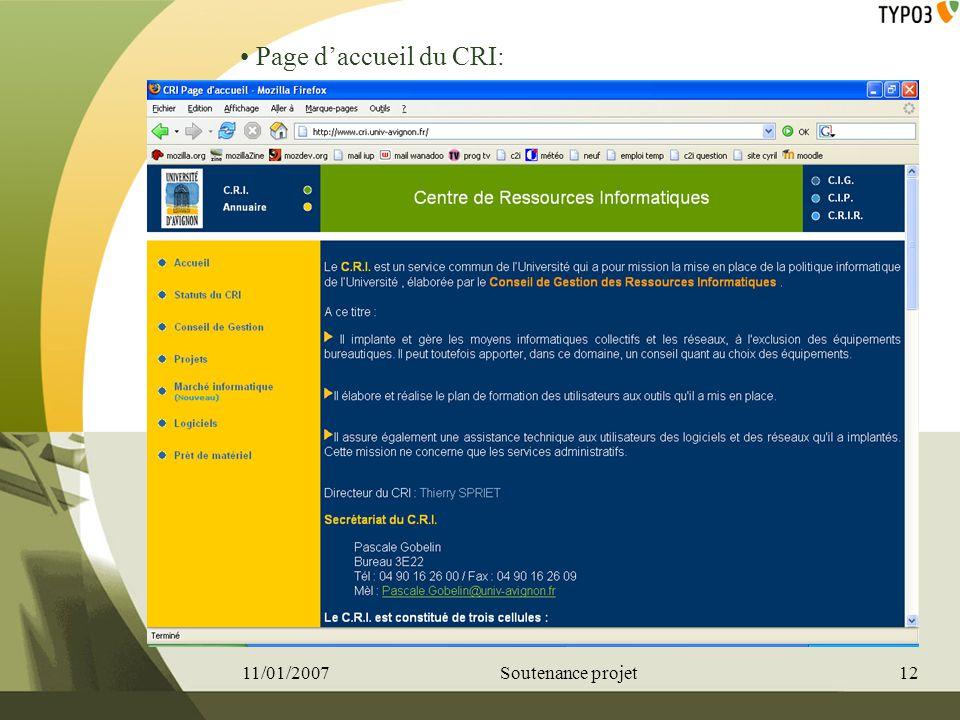 Page d'accueil du CRI: 11/01/2007 Soutenance projet 12
