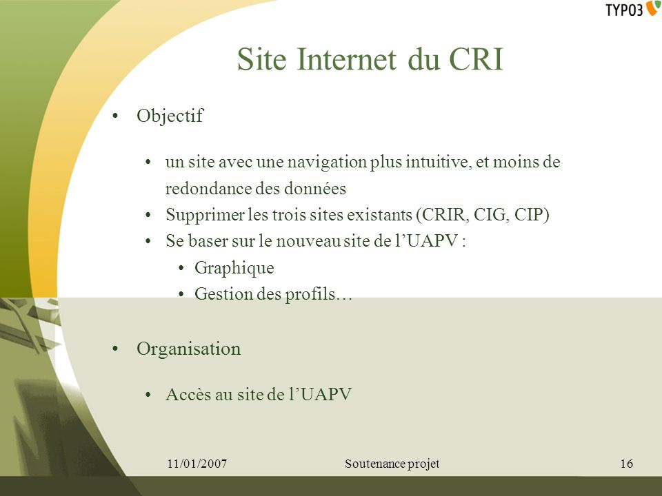 Site Internet du CRI Objectif Organisation