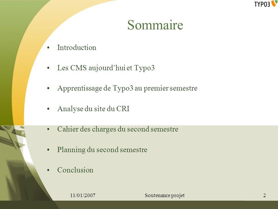 Sommaire Introduction Les CMS aujourd'hui et Typo3