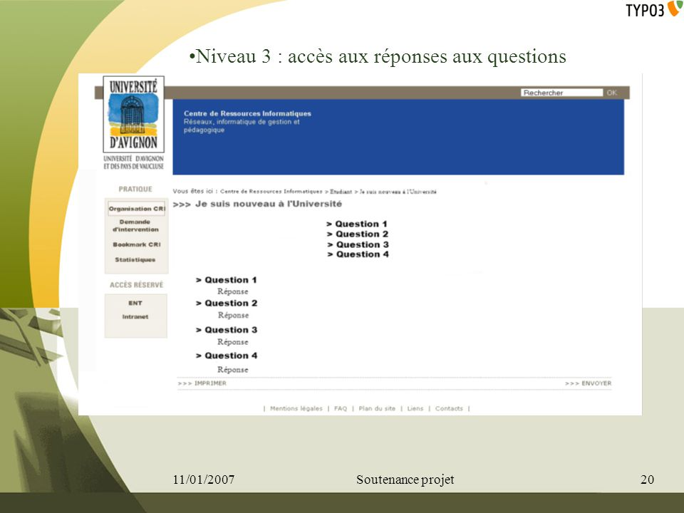 Niveau 3 : accès aux réponses aux questions