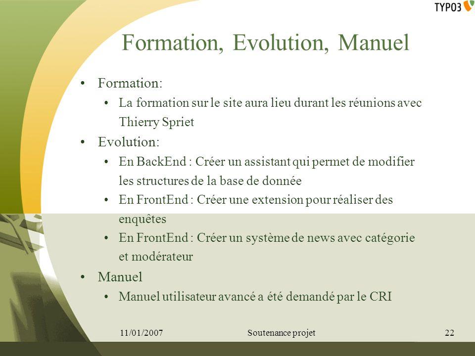 Formation, Evolution, Manuel