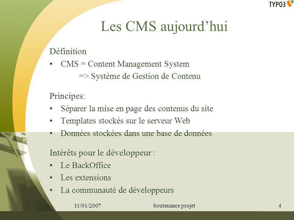 Les CMS aujourd'hui Définition Principes: