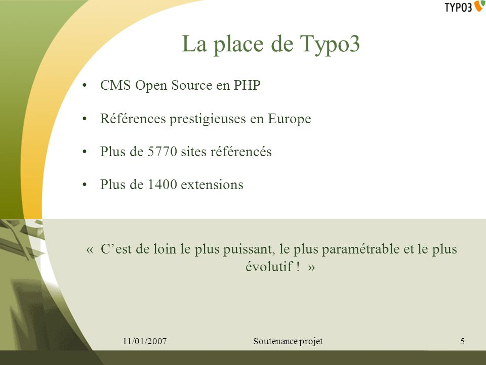 La place de Typo3 CMS Open Source en PHP