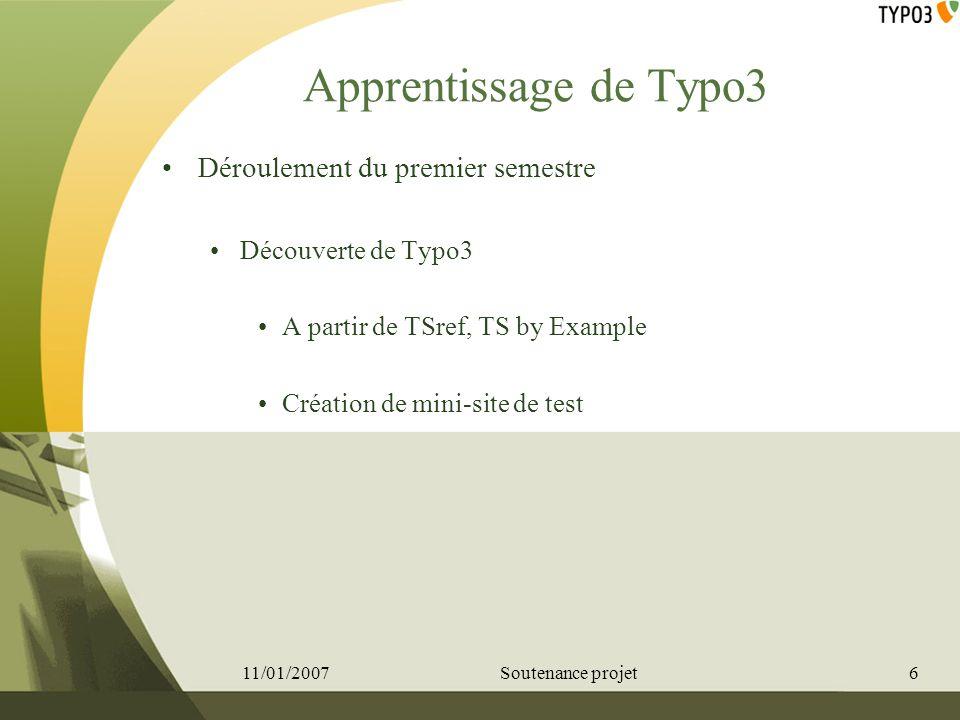 Apprentissage de Typo3 Déroulement du premier semestre