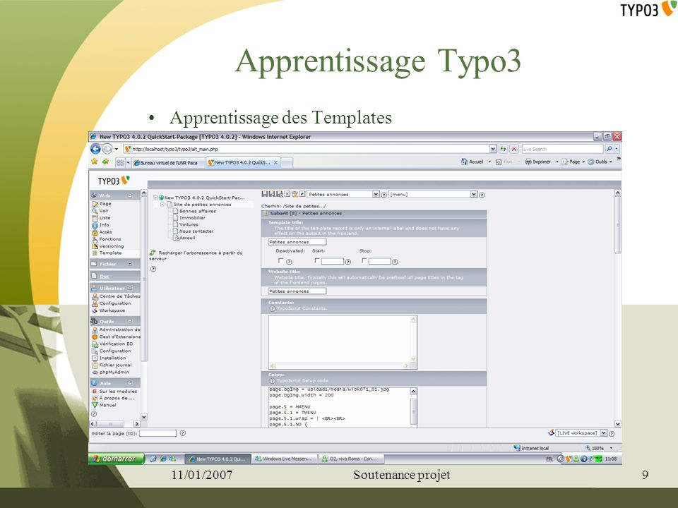 Apprentissage Typo3 Apprentissage des Templates 11/01/2007