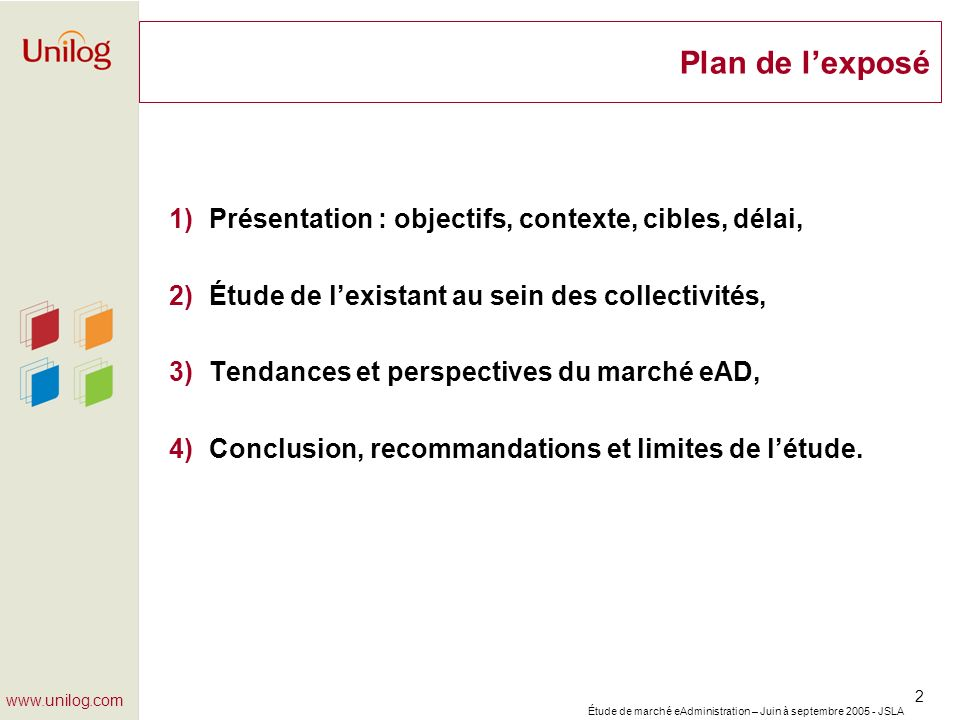 Plan de l'exposé Présentation : objectifs, contexte, cibles, délai,