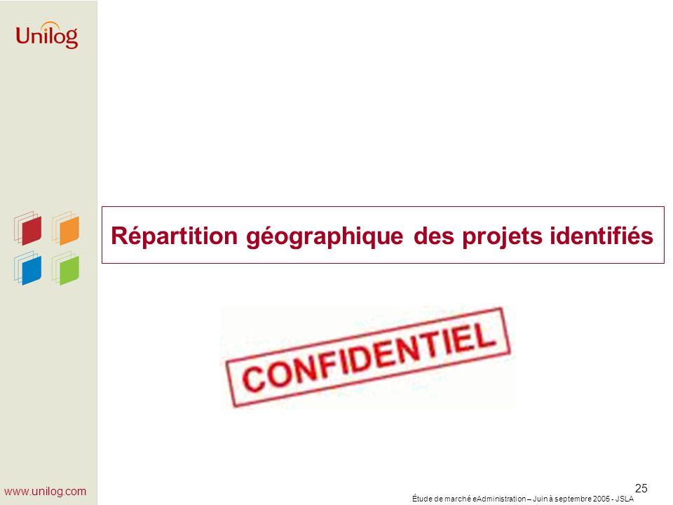 Répartition géographique des projets identifiés