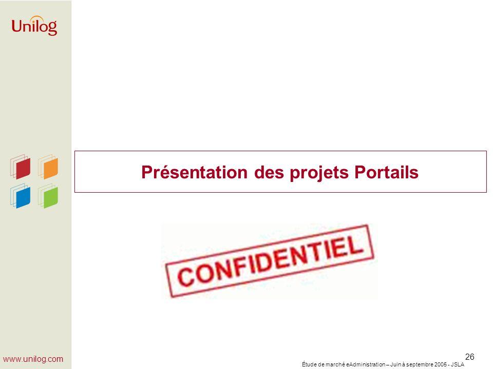Présentation des projets Portails