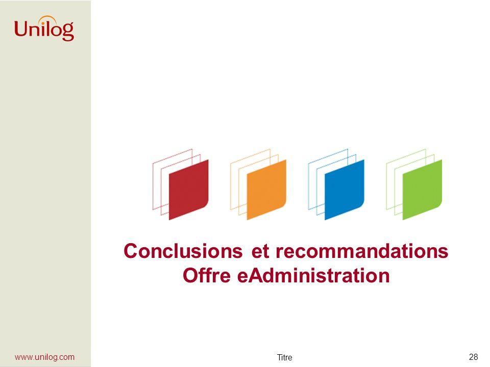 Conclusions et recommandations Offre eAdministration