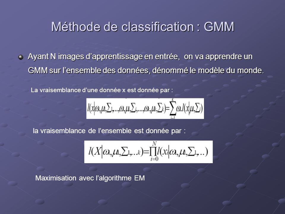 Méthode de classification : GMM