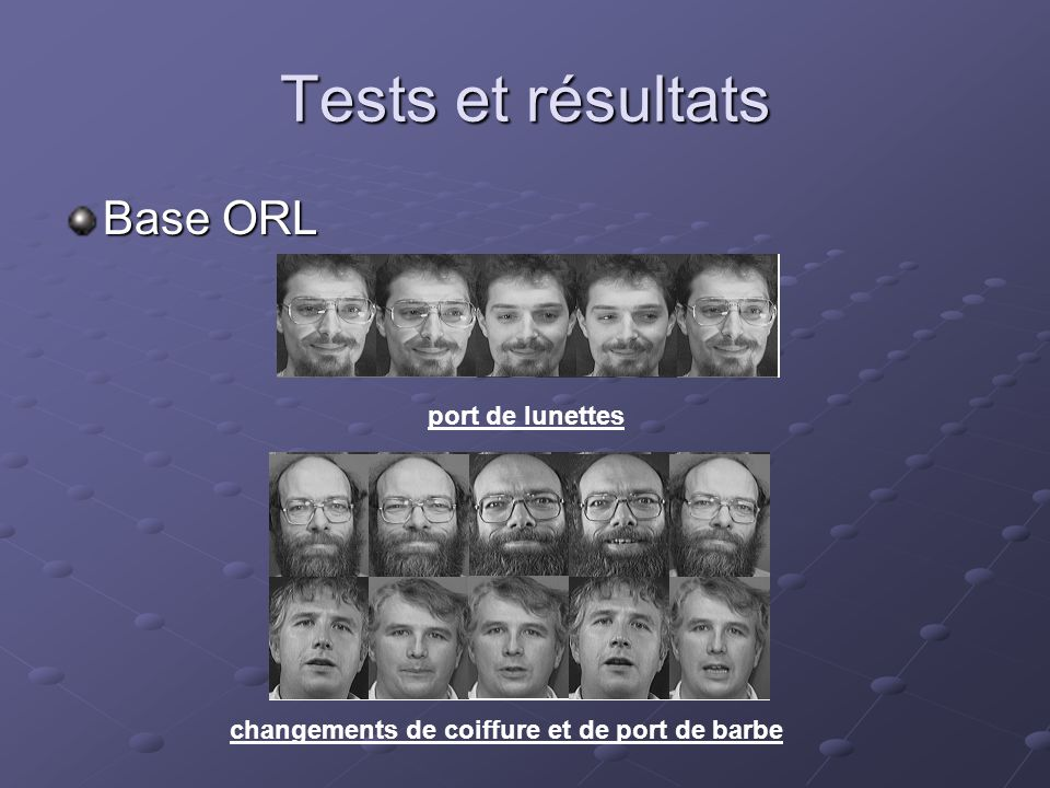 Tests et résultats Base ORL port de lunettes