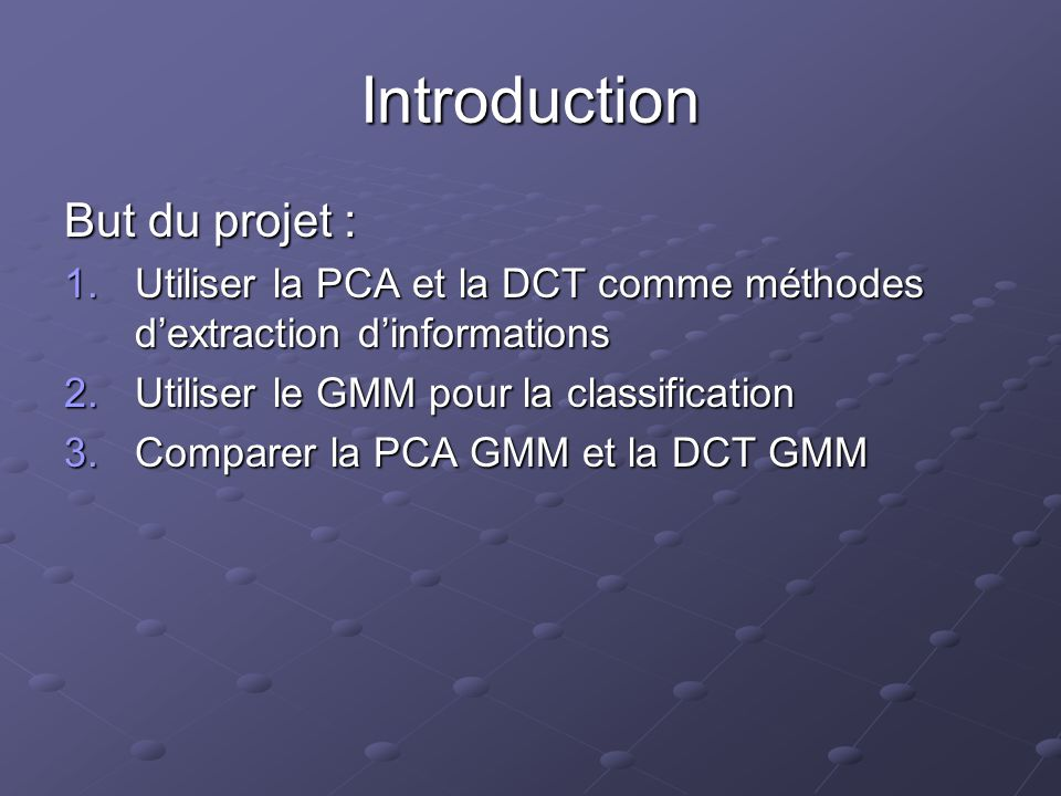 Introduction But du projet :