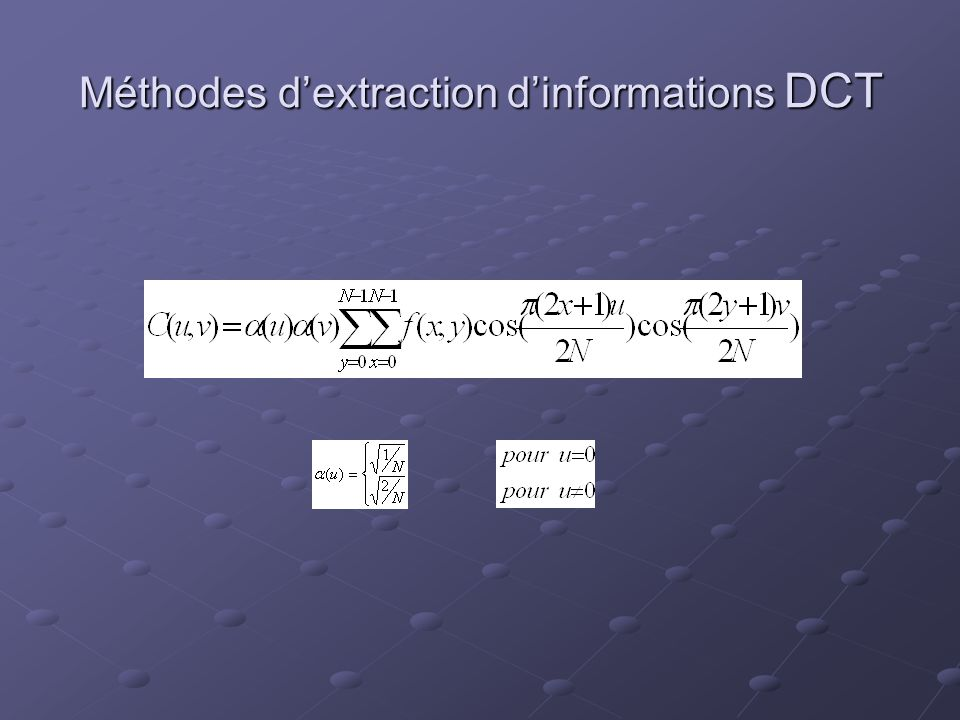 Méthodes d'extraction d'informations DCT