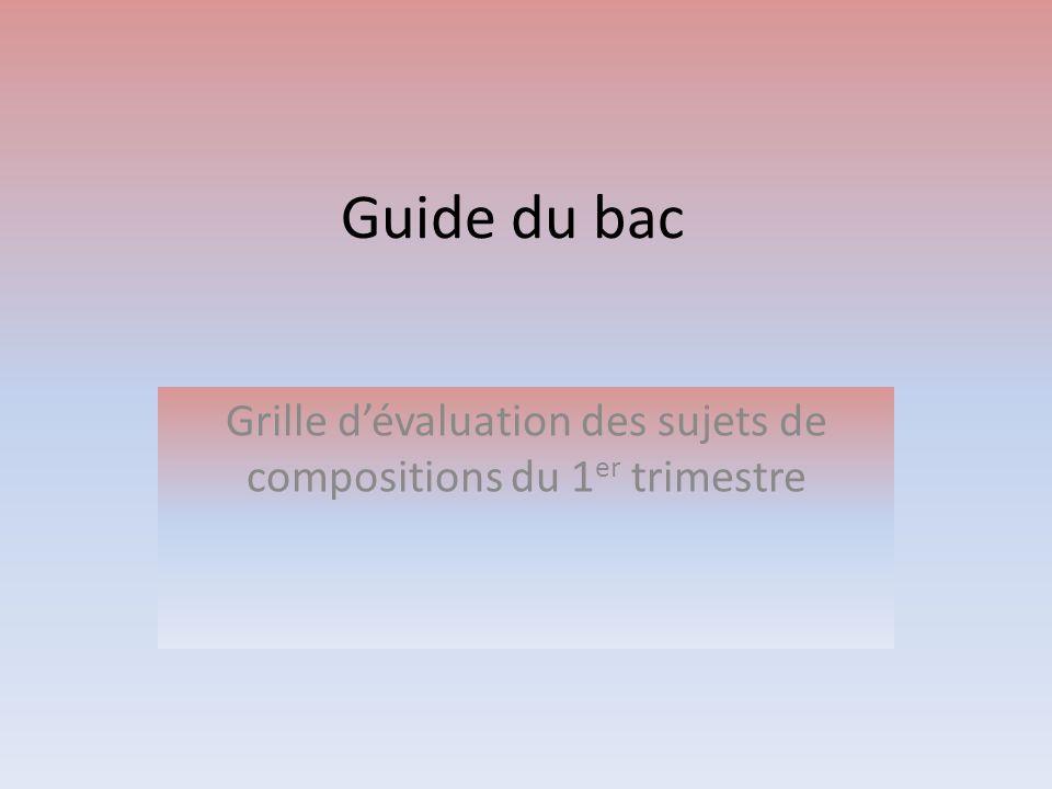 Grille d'évaluation des sujets de compositions du 1er trimestre