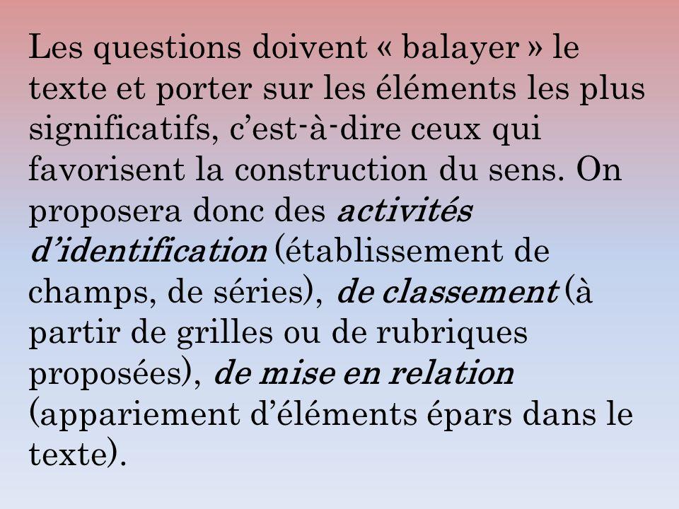 Les questions doivent « balayer » le texte et porter sur les éléments les plus significatifs, c'est-à-dire ceux qui favorisent la construction du sens.