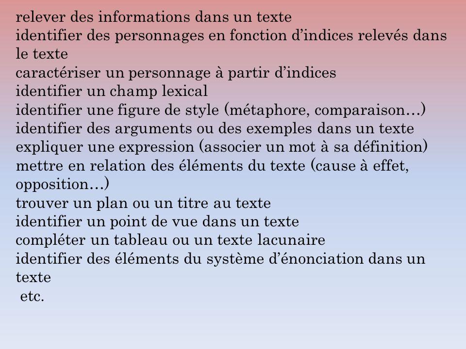 relever des informations dans un texte