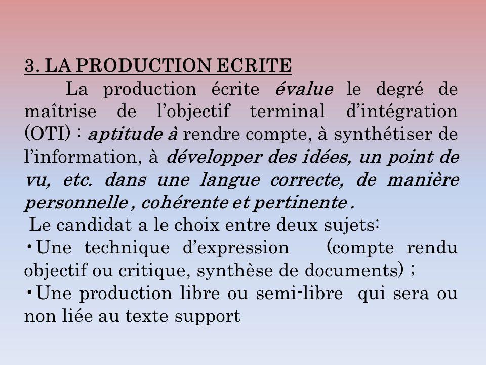 3. LA PRODUCTION ECRITE