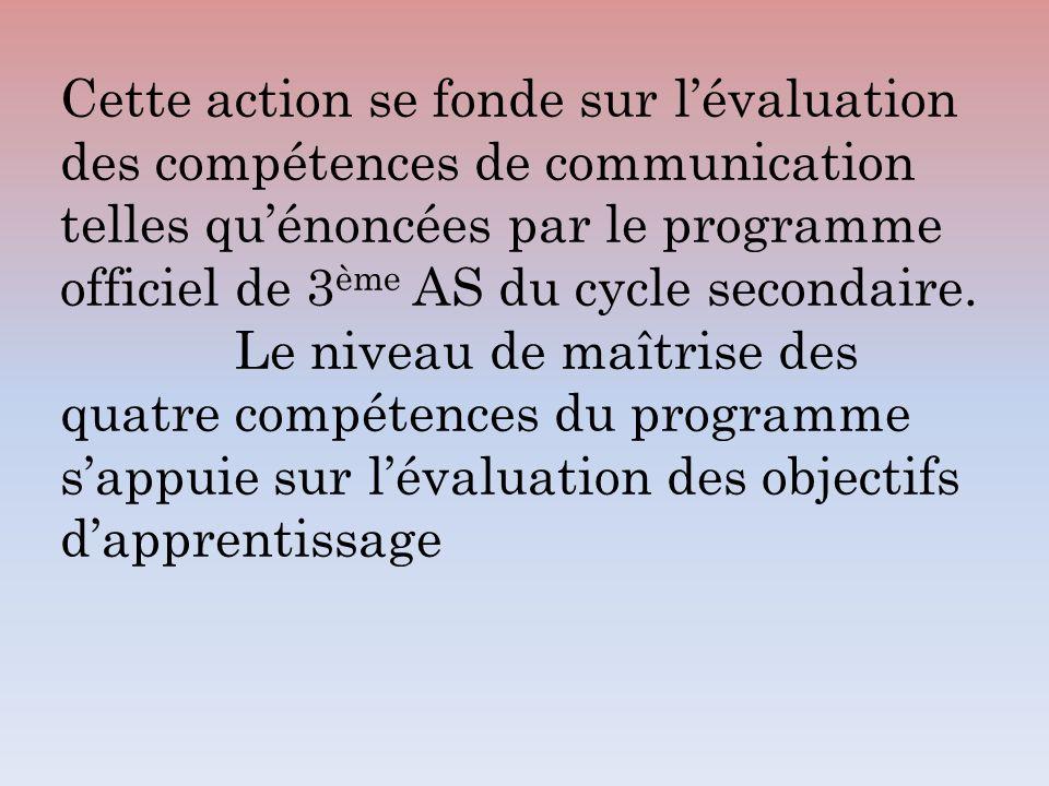 Cette action se fonde sur l'évaluation des compétences de communication telles qu'énoncées par le programme officiel de 3ème AS du cycle secondaire.