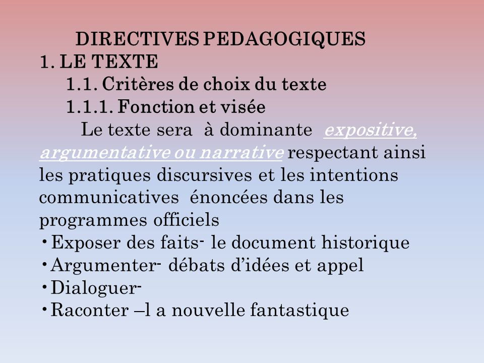 DIRECTIVES PEDAGOGIQUES