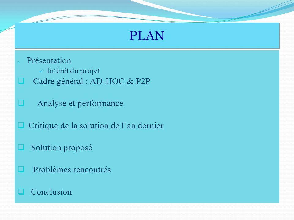 PLAN Cadre général : AD-HOC & P2P Analyse et performance