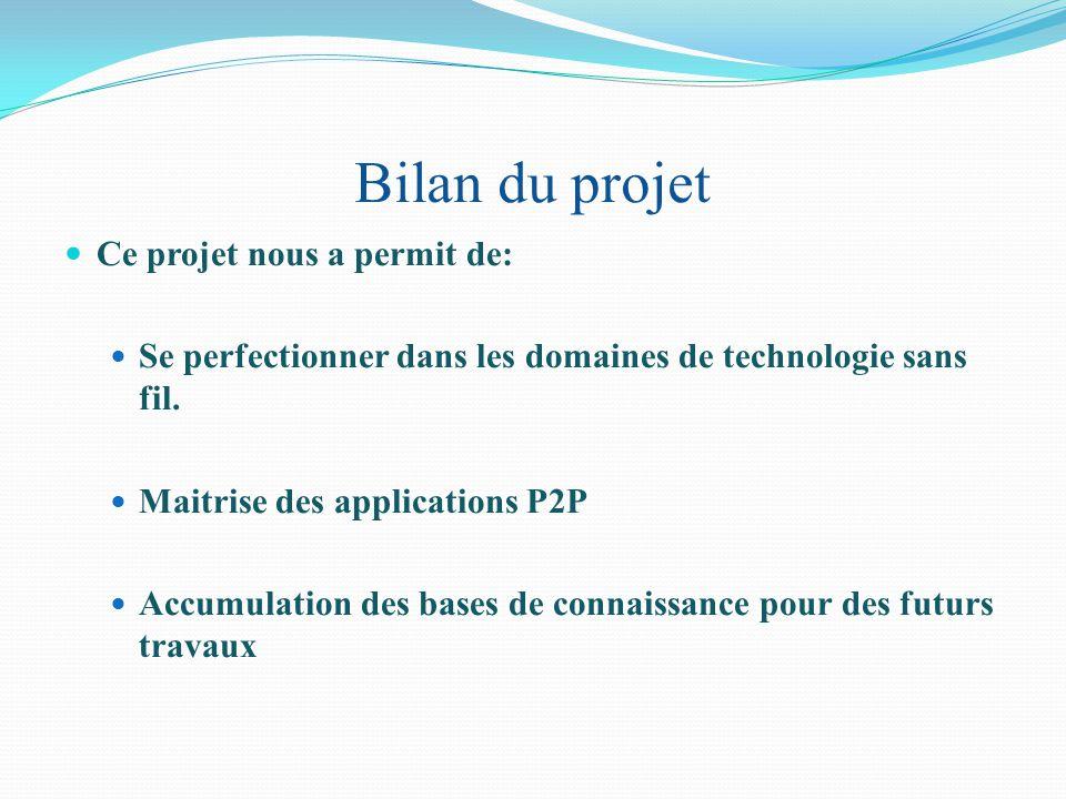 Bilan du projet Ce projet nous a permit de: