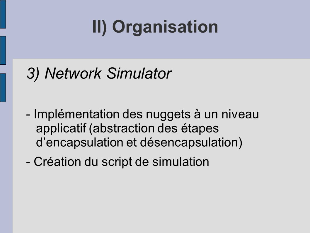 II) Organisation 3) Network Simulator