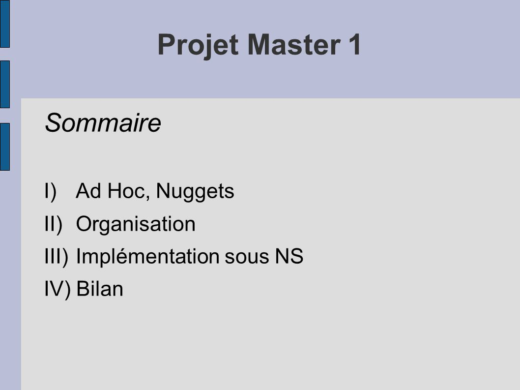 Projet Master 1 Sommaire I) Ad Hoc, Nuggets II) Organisation