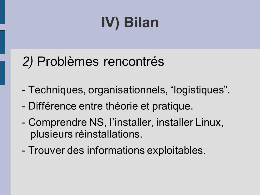 IV) Bilan 2) Problèmes rencontrés