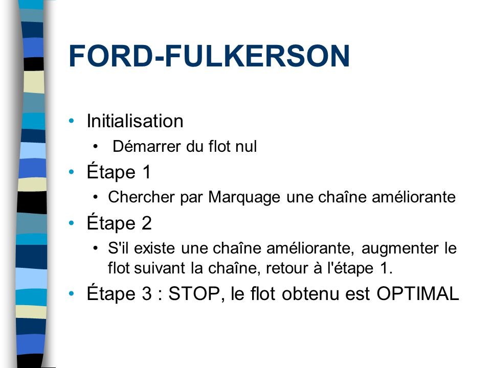 FORD-FULKERSON Initialisation Étape 1 Étape 2